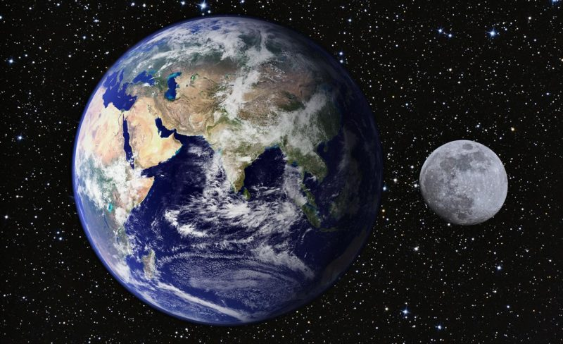 Größenverhältnis Erde Mond