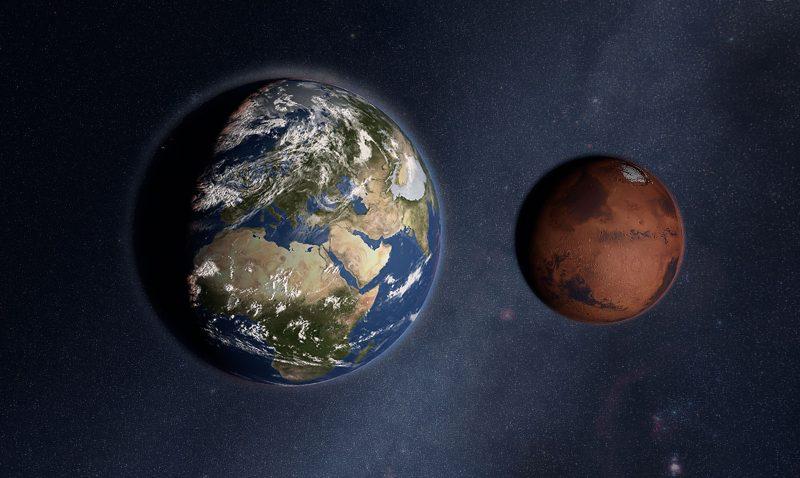 Größenverhältnis Erde Mars