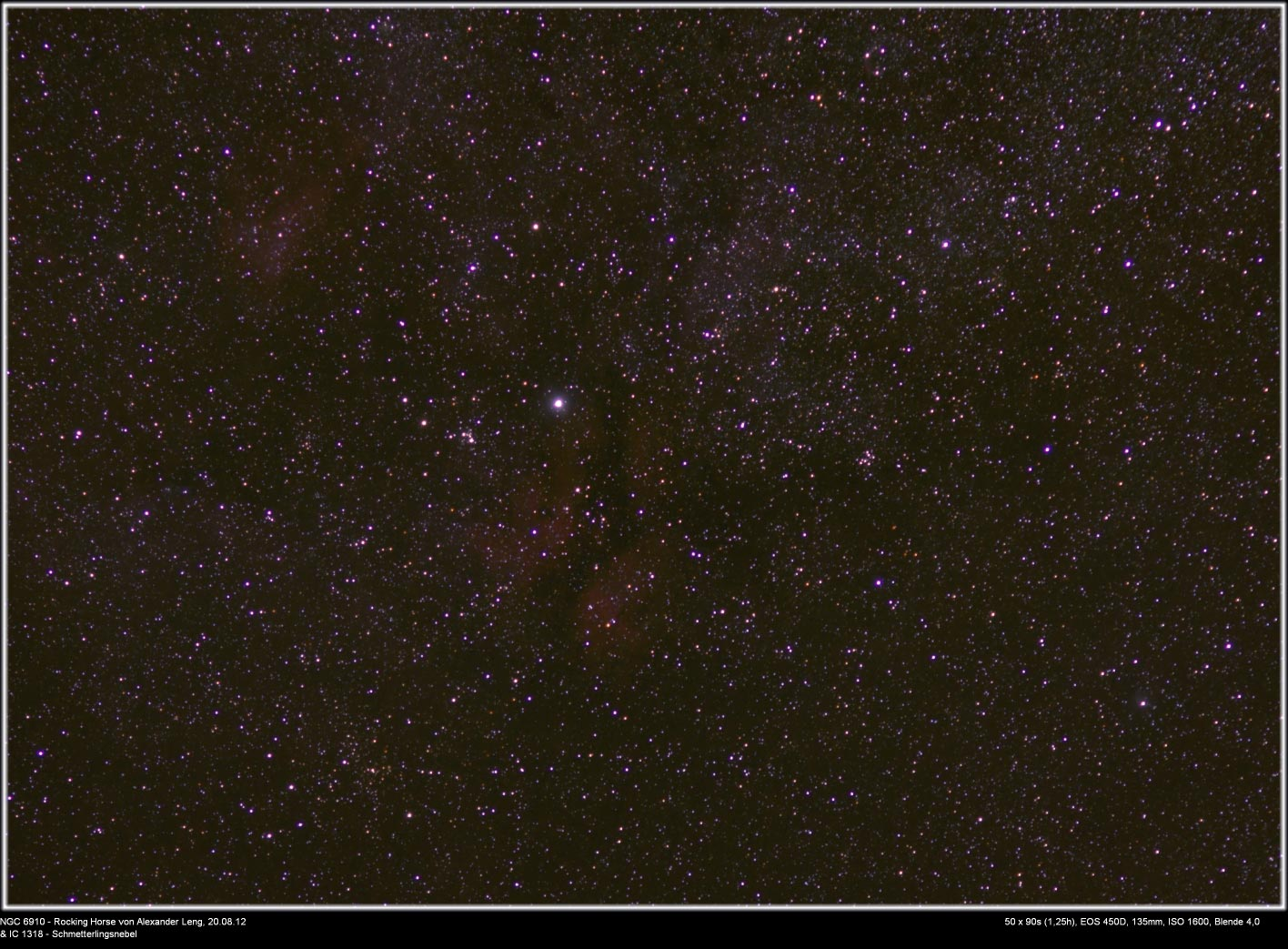 NGC 6910 rocking horse cluster und IC 1318 Schmetterlingsnebel