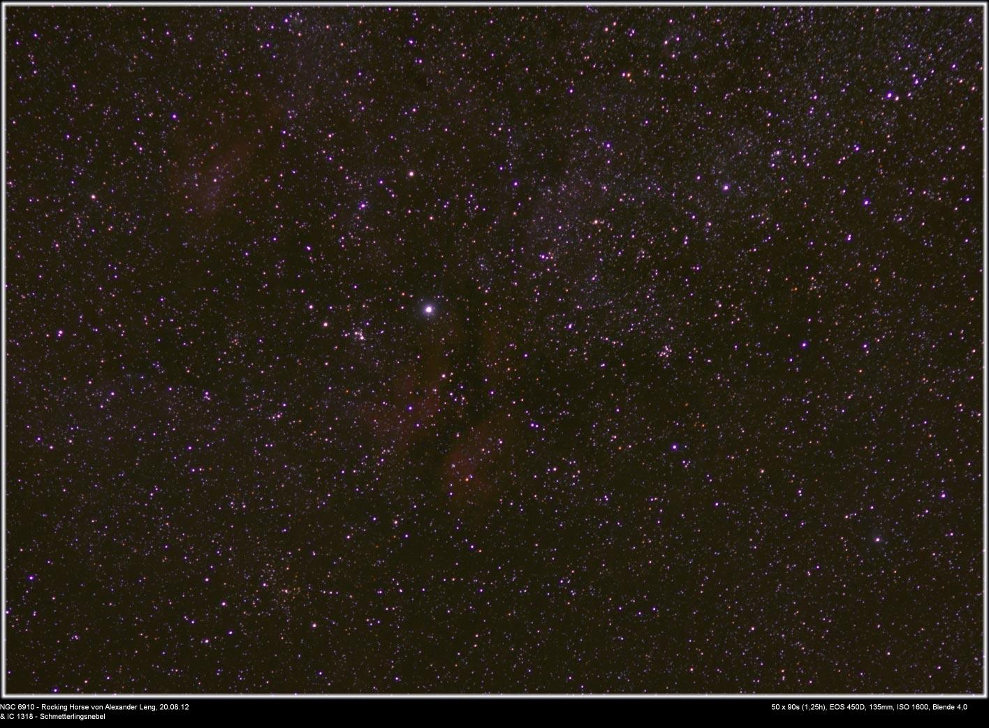 NGC 6910 rocking horse cluster und IC 1318 Schmetterlingsnebel